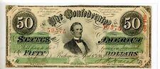 1863 Confederate States of America $50 Banknote Green Print Cut Canceled # 59575