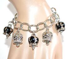 BRACCIALE donna argento ciondoli neri anelli lucidi smaltati strass bracelet A62