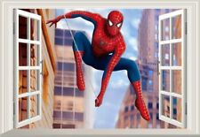 Spiderman Themed 3d Window Children Art Boy Room Wall Sticker Home Decal Decor
