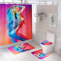Sexy Woman Shower Curtain Bathroom Rug Set Non-Slip Bath Mat Toilet Lid Cover