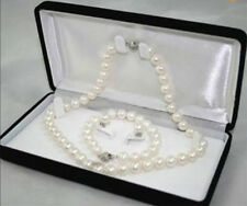 Genuine 8-9MM White Akoya Cultured Pearl Necklace Bracelet Earring Set AA