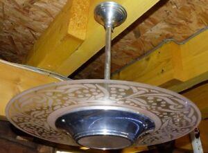 Luminaire lustre vintage années 50 haut 42 diam 44 cm (2)