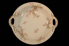 "Antique Haviland of Limoges  10"" inch serving bowl pink roses, blue ribbons"