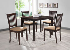 Kings Brand Cappuccino Finish Wood 5 Piece Dining Kitchen Set, Table & 4 Chairs