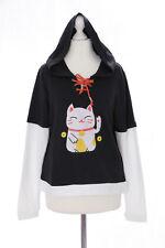 TS-76 Lucky Cat Glücks-Katze schwarz Goth Lolita Pullover Kapuzen Sweatshirt