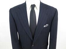 Ralph Lauren Pure Virgin Wool Dark Blue Striped Mens Suit Canada 40 S 40 x 28