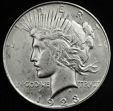 1923-d Peace Silver Dollar. Long Die Break from IN to bottomof Liberty. AU 95027