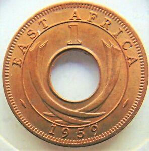 1959 KN East Africa, Elizabeth II, Bronze 1 Cent, Orange UNCIRCULATED.