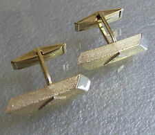 VINTAGE CUFFLINKS 1960s 1970s MOD GOLDTONE METAL LONG RETRO ABSTRACT MODERNIST