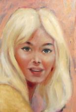 Vintage oil painting blonde girl portrait