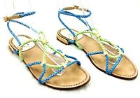 Stuart Weitzman Women's Blue/Green Braided Leather Gladiator Sandals Size 6