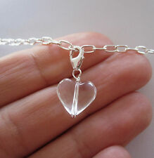 925 Sterling silver Natural CLEAR QUARTZ CRYSTAL HEART clip on charm pendant