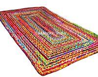 Jute & Cotton Rectangular Braided Rugs Reversible Floor Yoga Mat 2x3'