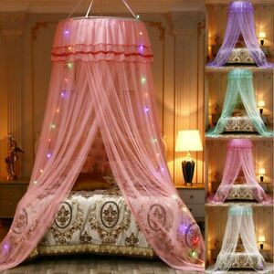 Lace LED Light Princess Dome Mosquito Net Mesh Bed Canopy Bedroom Home Decor.,