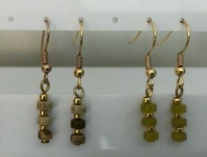 Semi Precious Stone Wheels & Gold Plated Threaded Earrings with Plated Ear Wires