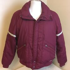Obermeyer Mens Ski Winter Snow Jacket Coat Maroon w/ Gray Trim Medium Free Ship