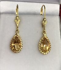 14k Solid Gold Leverback Pear Cut One Stone Dangle Earrings,Natural Citrine