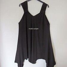 MAGNA Zipfel Träger Kleid Tunika Lagenlook Stretch A-Linie schwarz 48-50 (4)