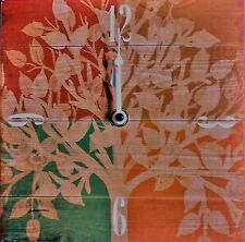 "NWT 7"" Sq. Teal, Maroon & Orange Clock - Floral or Tree Pattern - Table or Wall"