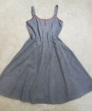 Pin-Up Vintage 1950's Retro Rockabilly Blue Striped Dress Handmade NO SIZE TAG