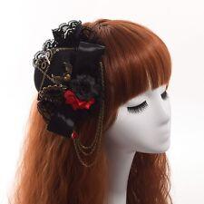 Gothic Death Headwear Lolita Girl Floral Greas Heart Pattern Black Bow Hair Clip