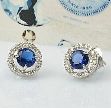 Charming Swarovski Crystals 18K Gold GP Blue Sapphire Stud Earrings New!!