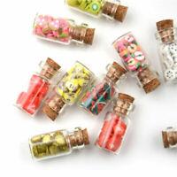 5 Pcs 1/12 Dollhouse Miniature Glass Bottle Food Fruit Slices Cork Kitchen Decor