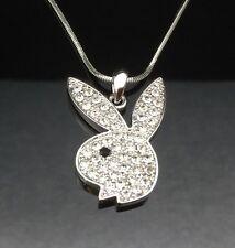 Silver Crystal PLAYBOY BUNNY Pendant Necklace Swarovski Rabbit Quality Girl Gift