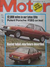 Motor magazine 12/4/1980 featuring Porsche 928S road test, Lotus Elite
