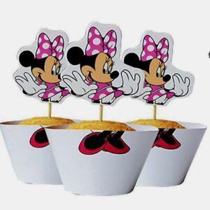 24Pcs Minnie Mouse Cupcake Wrapper/Topper Set Birthday Cake Party Disney
