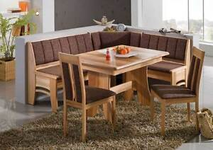 New BALI Eckbank Kitchen Dining Corner Seating Bench Table + 2 Chairs