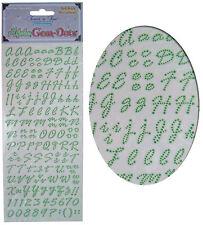Hoja de pegatinas de elaboración de tarjetas, números y letras del alfabeto, verde Adorno De Gema