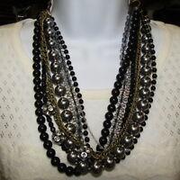 Vintage Mod Statement Necklace Multi Strand Chain Beads Black Gold Silver