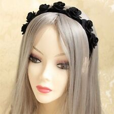 Medieval Headpiece Women Fashion Gothic Punk Black Rose Wedding Bridal Headband