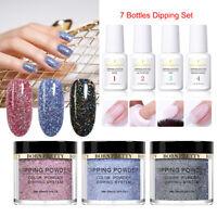 7Bottles BORN PRETTY Glitter Dipping Powder Liquid Nail Starter Kit NO Cure