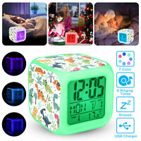 Digital LED Alarm Clock Weather Snooze 7 Color Night light Calender USB Charger