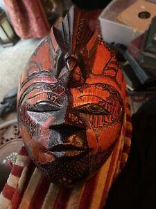 Vintage Wood Javanese Mask Batik Merak  Face Hand Painted Carved Folk Art Bali