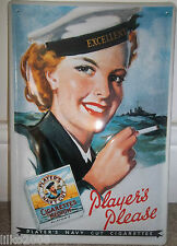 PLAYER'S CIGARETTES-  NAVY GIRL SAILOR: EMBOSSED metal (3D) ADVERTISING SIGN