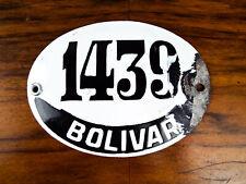 Vintage Argentinian House Number Enamel Street Sign 1439 Bolivar Deco Plaque