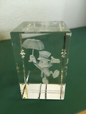Disney Jiminy Cricket 3D Etched Crystal Paperweight