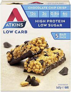 Atkins Chocolate Chip Crisp Bars Keto Friendly Bars 5 x 37g Low Carb Chocolate
