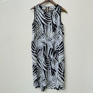 Trenery Country road Summer Silk Dress Size 10 leaf tropical pattern shift midi