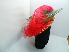 EXQUISITE HANDMADE RED STRAW FASCINATOR WITH LARGE OSTRICH FEATHER & CRYSTALS