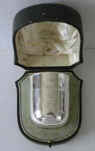 A Cased Pair Of Antique Sterling Silver Tumbler Beakers Sheffield 1913 301 Grams