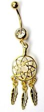 Gold Feather Web Dreamcatcher Charm Belly Navel Bar Ring Dangle Wicca New