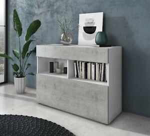 Credenza moderna mobile madia multi spazio bianco 1 anta 1 cassetto soggiorno