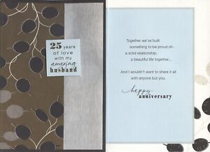 Hallmark 25th Silver Anniversary Card For Husband--It Seems Like Yesterday