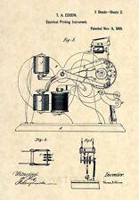 Official Thomas Edison Ticker Tape US Patent Art Print- Stock Broker Trader 238