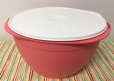 Tupperware Large Maxi Mixing Bowl 42 Cup Coral w/ Ivory Seal New