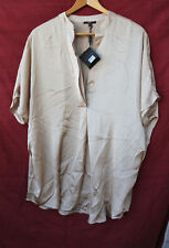 MILANO Large light brown (sugar cookie) Blouse short-sleeved NWT $58